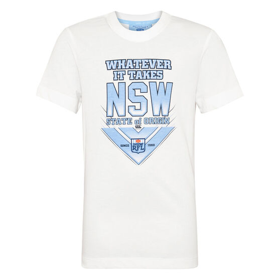 NSW Blues State of Origin 2020 Kids Whatever It Takes Tee, White, rebel_hi-res