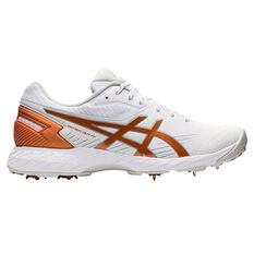 Asics GEL 350 Not Out FF Womens Cricket Spikes White/Gold US 6, White/Gold, rebel_hi-res