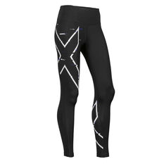 2XU Womens Mid Rise Compression Tights Black XS, Black, rebel_hi-res