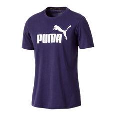 Puma Mens Essential Logo Tee Purple S, Purple, rebel_hi-res