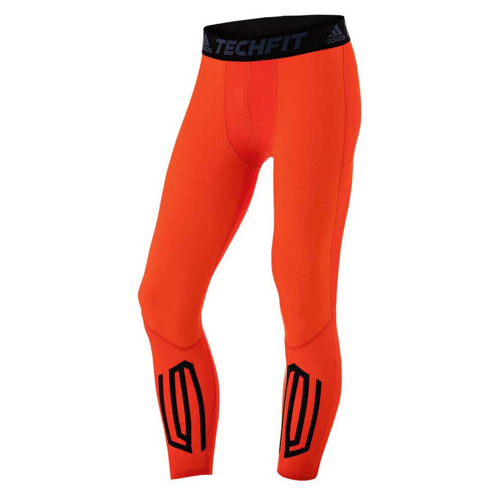 38f16332b331c adidas Mens TechFit Tough Long Training Tights Orange XL, Orange,  rebel_hi-res