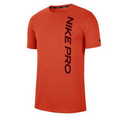 Nike Pro Mens Burnout Tee Orange S, Orange, rebel_hi-res