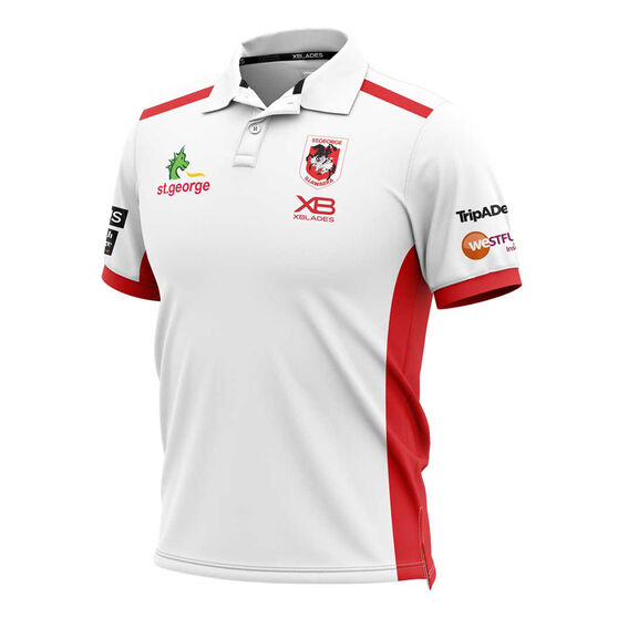 St George Illawarra Dragons 2019 Mens Media Polo, White / Red, rebel_hi-res
