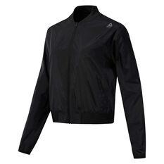 Reebok Womens Workout Ready Woven Jacket Black XS, Black, rebel_hi-res