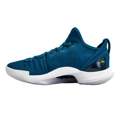 Under Armour Curry 5 Kids Basketball Shoes Blue / White US 4, Blue / White, rebel_hi-res