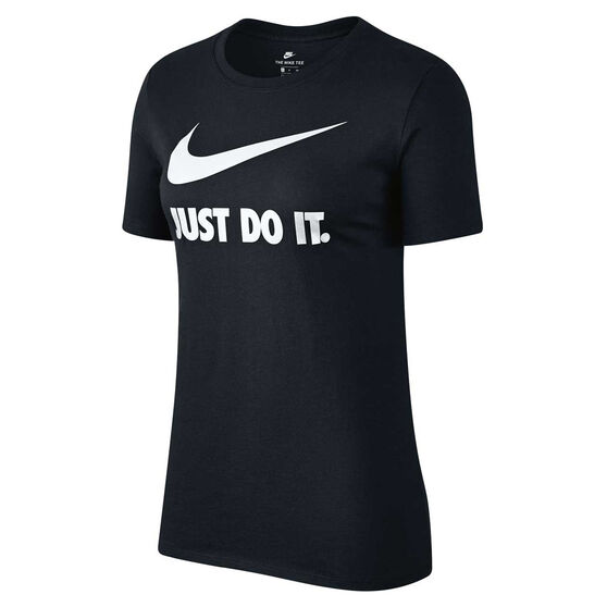 Nike Womens Just Do It Swoosh Tee, Black / White, rebel_hi-res