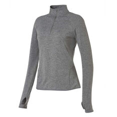 Ell & Voo Womens Amelia Quarter Zip Top Grey XS, Grey, rebel_hi-res