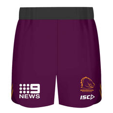 Brisbane Broncos 2020 Kids Training Shorts Maroon 6, Maroon, rebel_hi-res