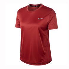 Nike Womens Miler Running Tee Red XS, Red, rebel_hi-res