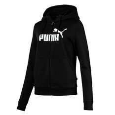 Puma Womens Essentials Fleece Hooded Jacket, Black, rebel_hi-res