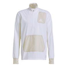 adidas Mens Primeblue Half Zip Running Jacket White S, White, rebel_hi-res