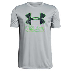 Under Armour Boys Print Fill Logo Training Tee Grey / Green XS, Grey / Green, rebel_hi-res