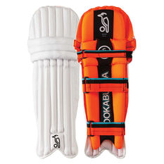 Kookaburra Rapid Pro 900 Junior Cricket Pads White / Orange Youth, White / Orange, rebel_hi-res