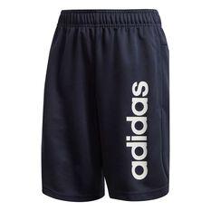adidas Boys Linear Knit Training Shorts Navy / White 4, Navy / White, rebel_hi-res