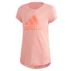 adidas Girls Must Haves Badge Of Sport Tee Pink 6, Pink, rebel_hi-res