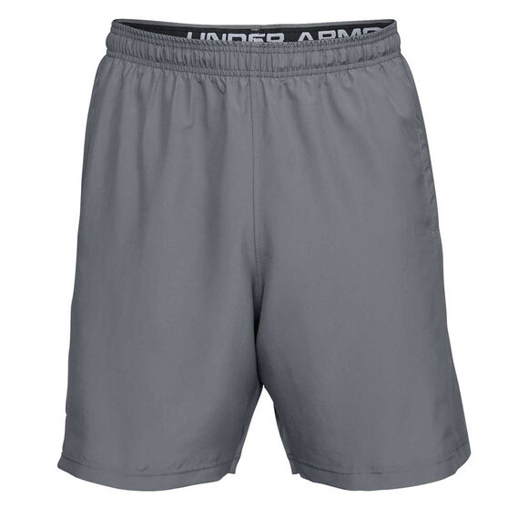 Under Armour Mens Woven Graphic Wordmark Shorts, Grey, rebel_hi-res
