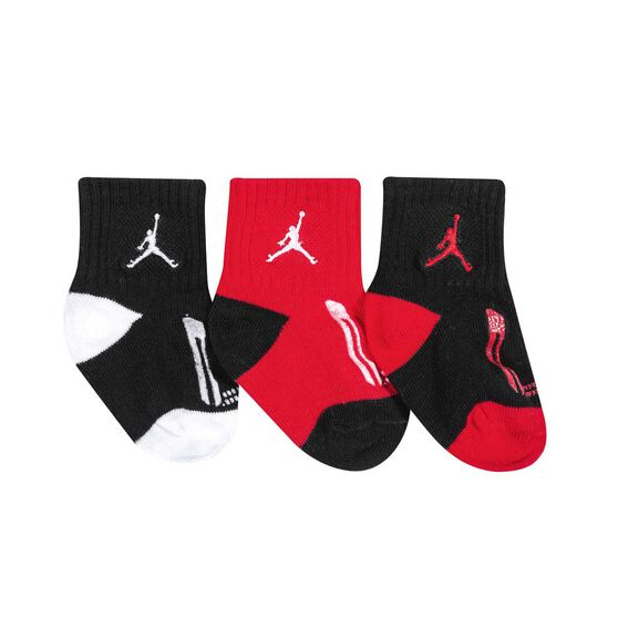 Nike Toddlers Jordan Jumpman Gripper Socks 3 Pack, Black / Red, rebel_hi-res