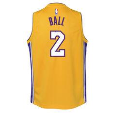 d682fb6aa1e0 ... Nike Los Angeles Lakers Lonzo Ball Icon 2019 Kids Swingman Jersey  Yellow   Blue S