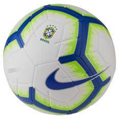Nike Brazil CBF FC Strike Soccer Ball White / Blue 5, White / Blue, rebel_hi-res