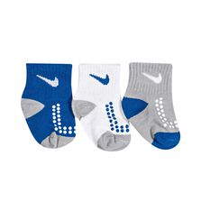 Nike Toddlers Swoosh Gripper Socks 3 Pack Blue / White 6 / 12 Months, Blue / White, rebel_hi-res