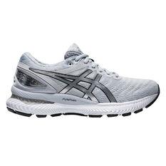 Asics GEL Nimbus 22 Platinum Womens Running Shoes Grey/Silver US 6, Grey/Silver, rebel_hi-res
