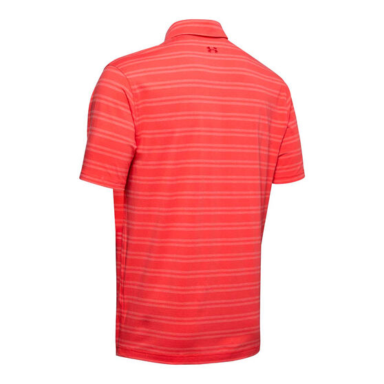 Under Armour Mens Charged Cotton Scramble Stripe Golf Polo Red S, Red, rebel_hi-res