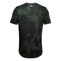 Under Armour Mens Project Rock Printed Tee Green XS, Green, rebel_hi-res