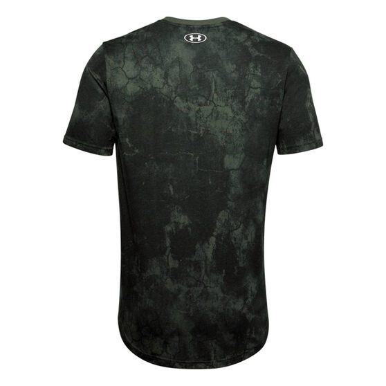 Under Armour Mens Project Rock Printed Tee, Green, rebel_hi-res