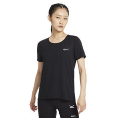 Nike Womens Dri-FIT Running Tee Black XS, Black, rebel_hi-res
