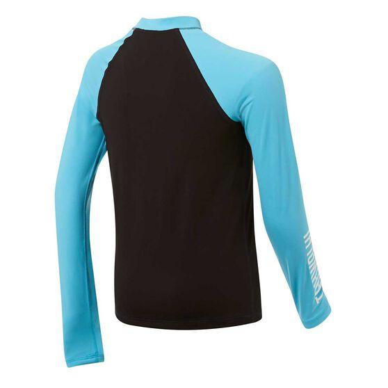 Tahwalhi Boys Outrider Long Sleeve Rash Vest, Black / Blue, rebel_hi-res