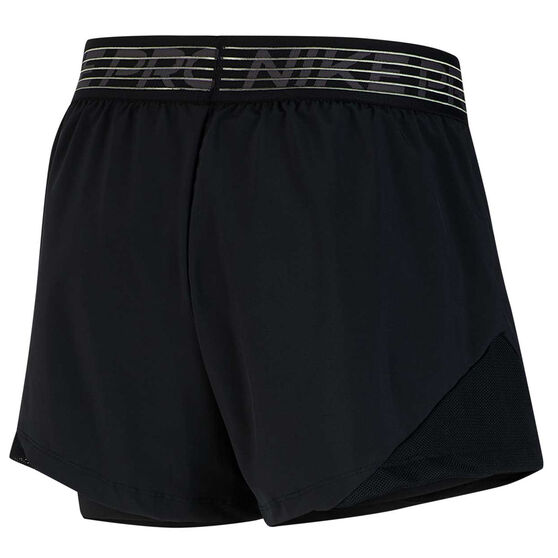 Nike Womens Pro Flex 2 In 1 Shorts, Black, rebel_hi-res