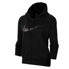 Nike Womens Dri-FIT Get Fit Full Zip Fleece Hoodie Black XS, Black, rebel_hi-res