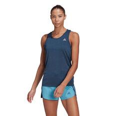adidas Womens Own The Run Cooler Tank Blue XS, Blue, rebel_hi-res