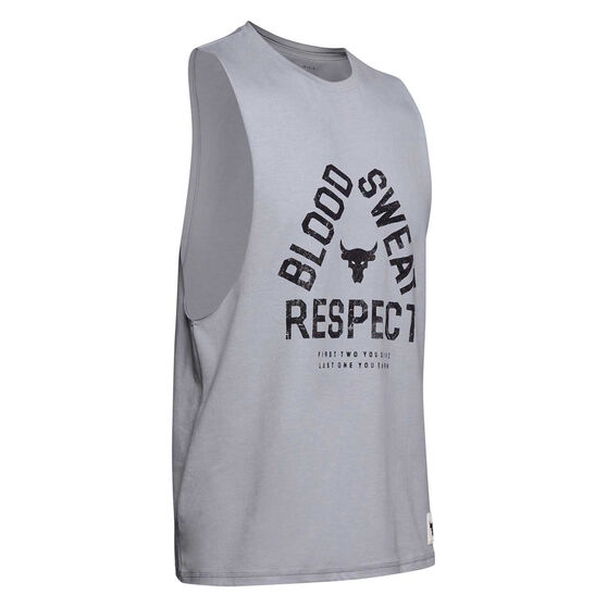 Under Armour Mens Project Rock Blood Sweat Respect Training Tank Grey S, Grey, rebel_hi-res