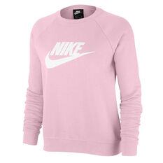 Nike Womens Sportswear Essential Fleece Sweatshirt Pink XS, Pink, rebel_hi-res