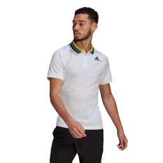 adidas Mens Primeblue Tennis Polo White S, White, rebel_hi-res