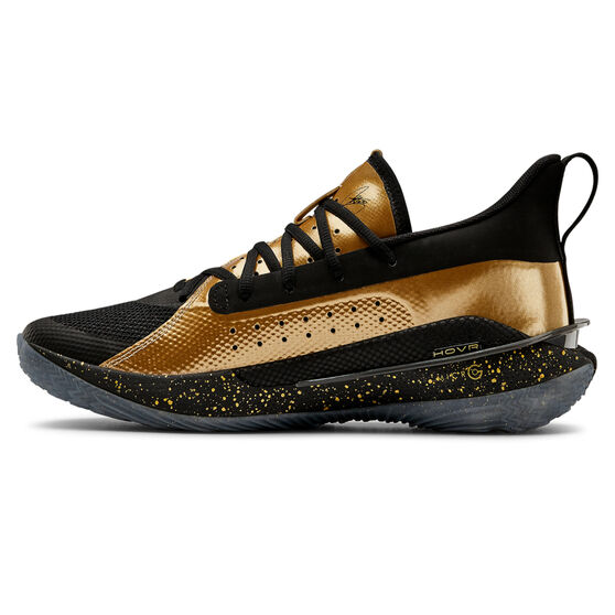 Under Armour Curry 7 Mens Basketball Shoes, Black/Gold, rebel_hi-res