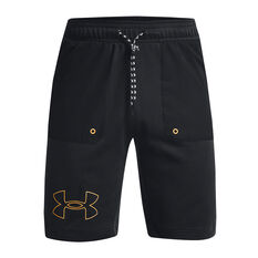 Under Armour Mens Rival Terry Scribble Shorts, Black, rebel_hi-res