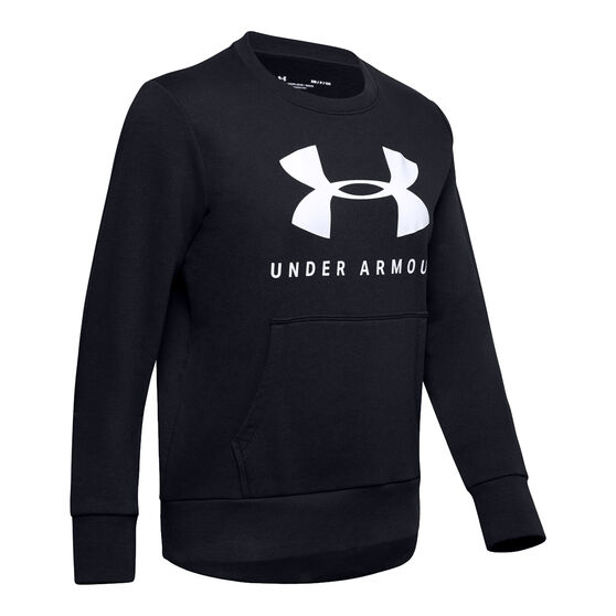 Under Armour Womens Favourite Fleece Sportstyle Graphic Sweatshirt, Black, rebel_hi-res
