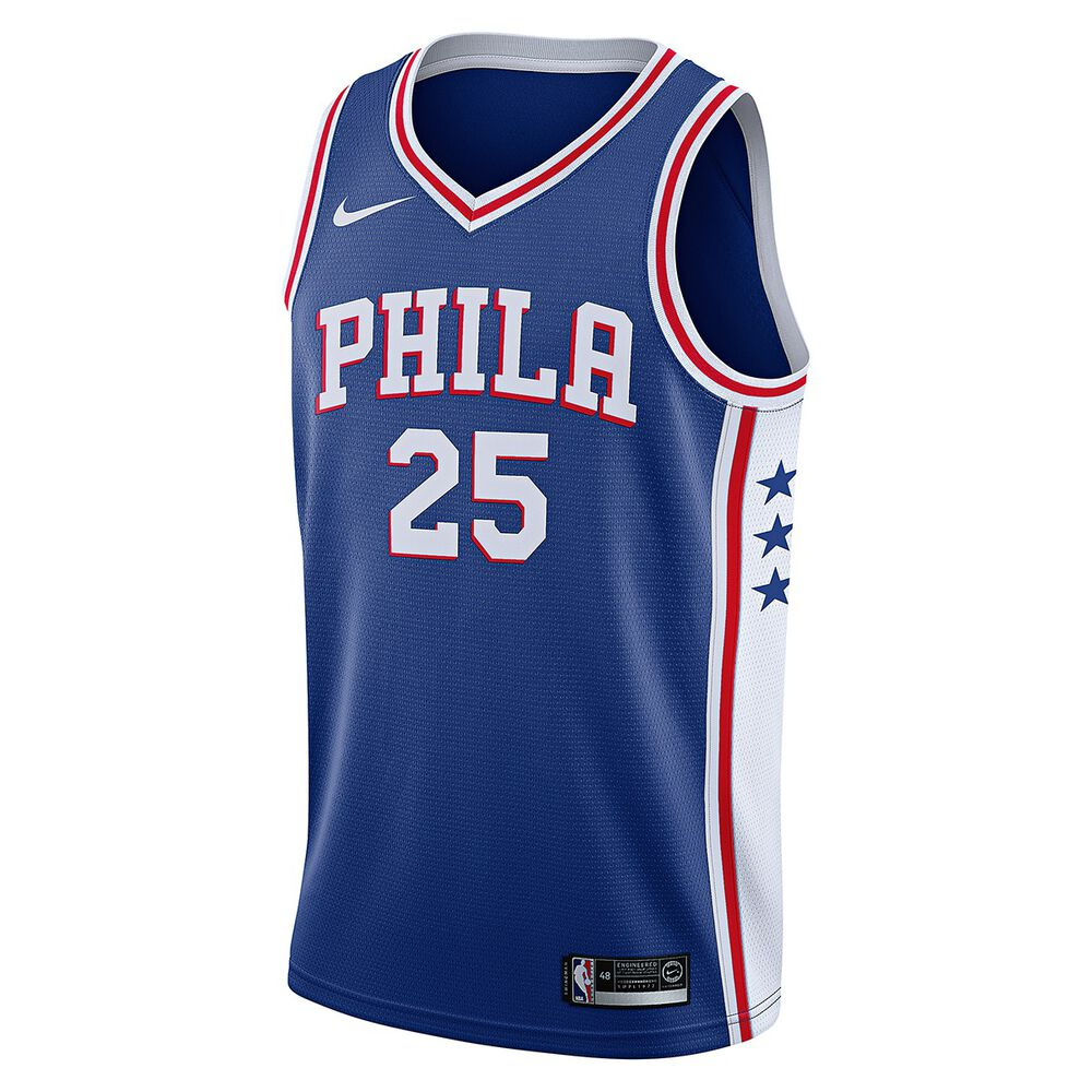 8d35f12e788 Nike Philadelphia 76ers Ben Simmons 2018 Mens Swingman Jersey Rush Blue XL