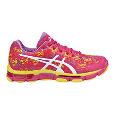 Asics Gel Netburner Professional 13 Womens Netball Shoes Pink / White US 6, Pink / White, rebel_hi-res