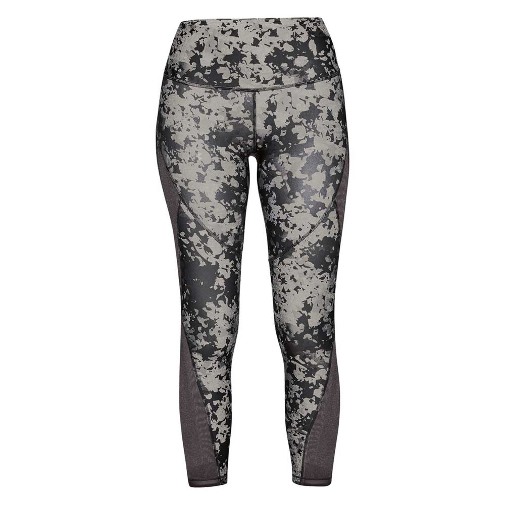 acbb0979ea5f58 Under Armour Womens HeatGear Armour Print Ankle Crop Tights, Grey,  rebel_hi-res
