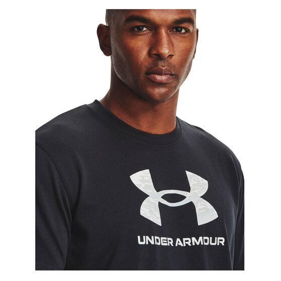 Under Armour Mens Big Logo Camo Tee, Black, rebel_hi-res