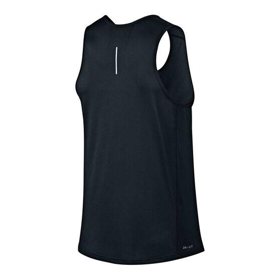 Nike Mens Dry Miler Running Tank Black / Silver S, Black / Silver, rebel_hi-res