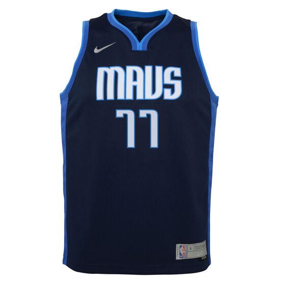 Nike Dallas Mavericks Luka Doncic 2020/21 Kids Earned Jersey, Navy, rebel_hi-res