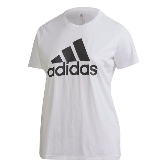 adidas Womens Badge of Sport Cotton Tee Plus, White, rebel_hi-res