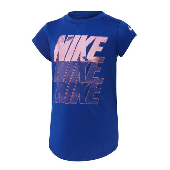 Nike Girls Watercolour Block Tee, Blue / Pink, rebel_hi-res