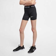 Nike Pro Girls Boy Leg Shorts Black / White XS, Black / White, rebel_hi-res