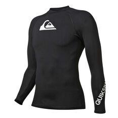 Quiksilver Mens All Time Long Sleeve Rash Vest Black S, Black, rebel_hi-res