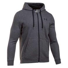 Under Armour Mens Rival Fleece Fitted Full Zip Hoodie Grey / Black S adult, Grey / Black, rebel_hi-res